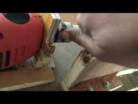 Home made drill powered wood carving lathe