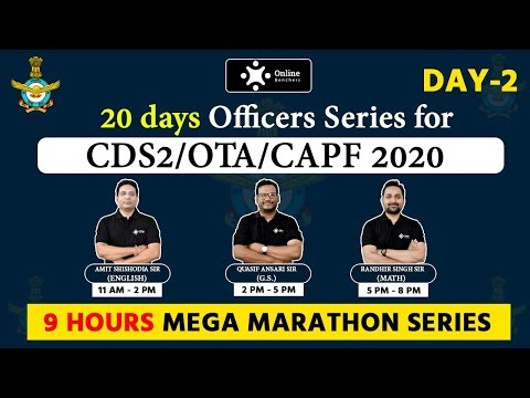 CDS 2 , OTA , CAPF 2020 || 20 Days Officers Series || 9 Hours Mega Marathon || By Online Benchers