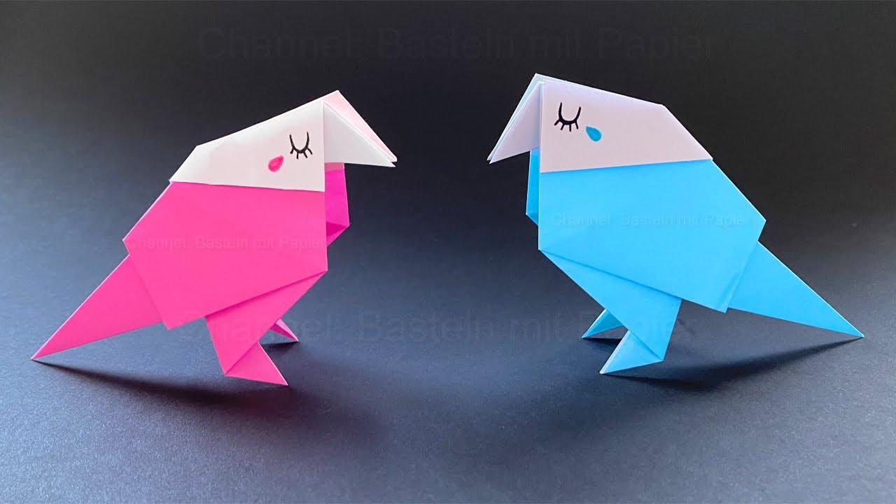 Origami Vogel basteln mit Papier - Deko oder Geschenk selber machen 🐦