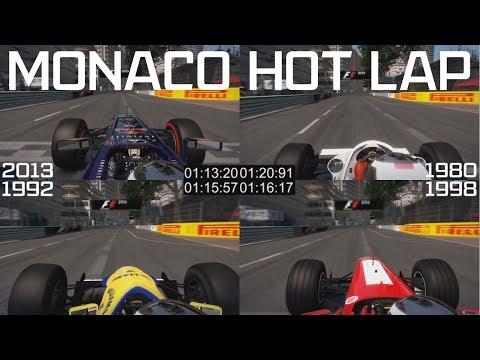 F1 2013 Monaco Hot Lap - 4 Car Classic and Modern Comparison