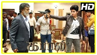 Kabali Movie Scenes | Dhansika is Rajini's daughter | Dhansika kills attackers | Rajini gets shot