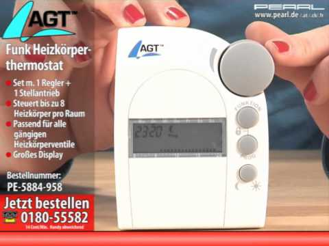 agt funk heizk rperthermostat set mit regler und stellantrieb youtube. Black Bedroom Furniture Sets. Home Design Ideas