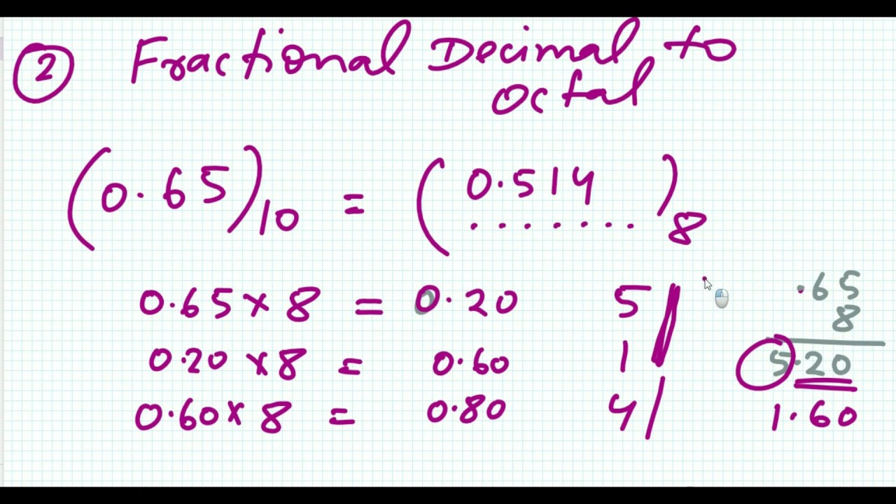 4 Fractional Decimal to Octal Conversion | Number System