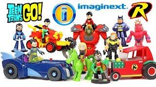 Imaginext Teen Titans Go! Robin &amp Batmobile T-Car ATV &amp Mechanical Suit Plus Terra &amp Beast Boy