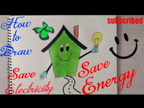 How To Draw Save Electricity Coloring Poster Step By Step Save