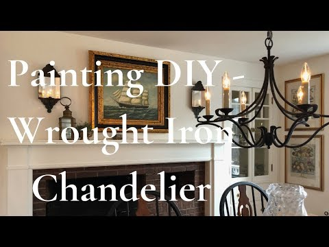 How to paint a brass chandelier to look like wrought iron like mine in my New England home