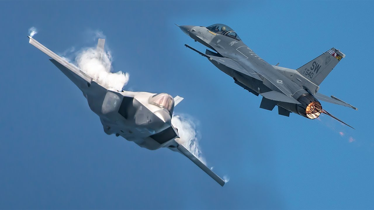 F-16 Fighting Falcon VS F-35 Fighter Jet Video Comparison 2019