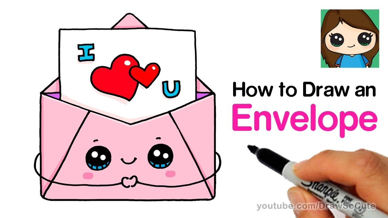 How to Draw a Love Letter in a Cute Envelope Easy - YouTube