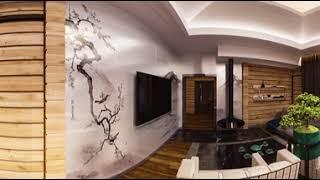 Виртуальный тур по гостиной в доме из сруба