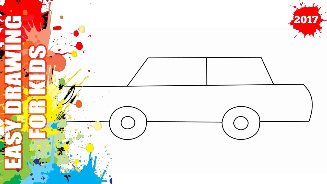 how to draw a car easy and simple for kids easy step by step drawing [ 1280 x 720 Pixel ]