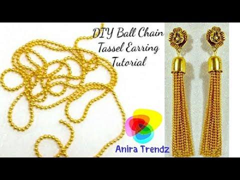 DIY Ball Chain Tassel Earring Hanging Tutorial / Trendy Designer 5 mins Earring