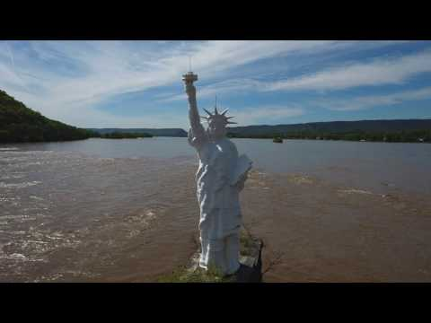 Susquehanna Lady Liberty Drone Flight 4K - Pennsylvania
