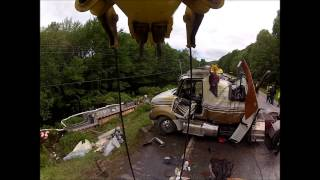 Flatbed Tractor-Trailer Rollover w/ two rotators