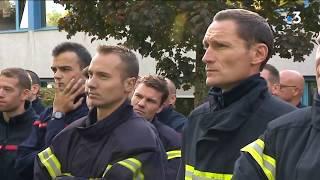 Manifestation des pompiers à la caserne de Dijon Nord