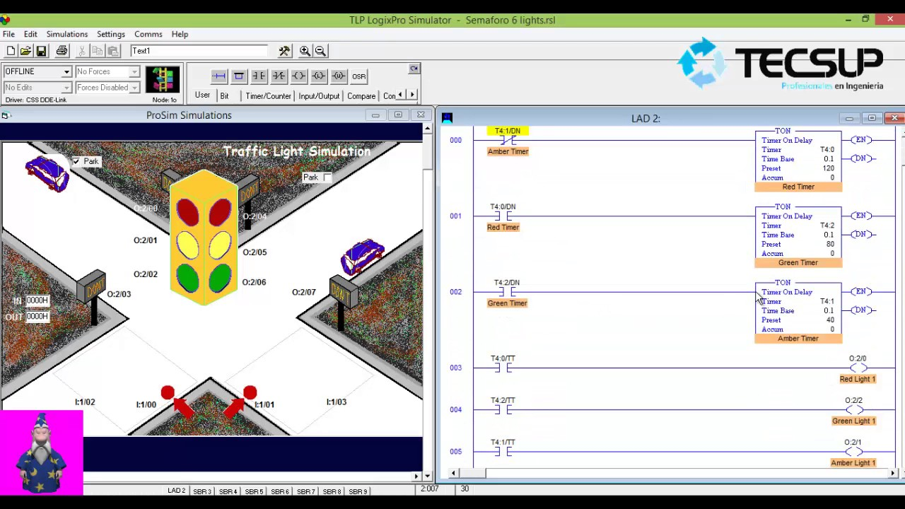Logixpro Traffic Light Timers 4 Diagram Ladder Logic Control Using 6 Lights With Only Ton Youtube
