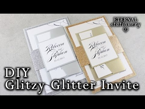 How to make elegant glitter wedding invitations with belly band | DIY invitation