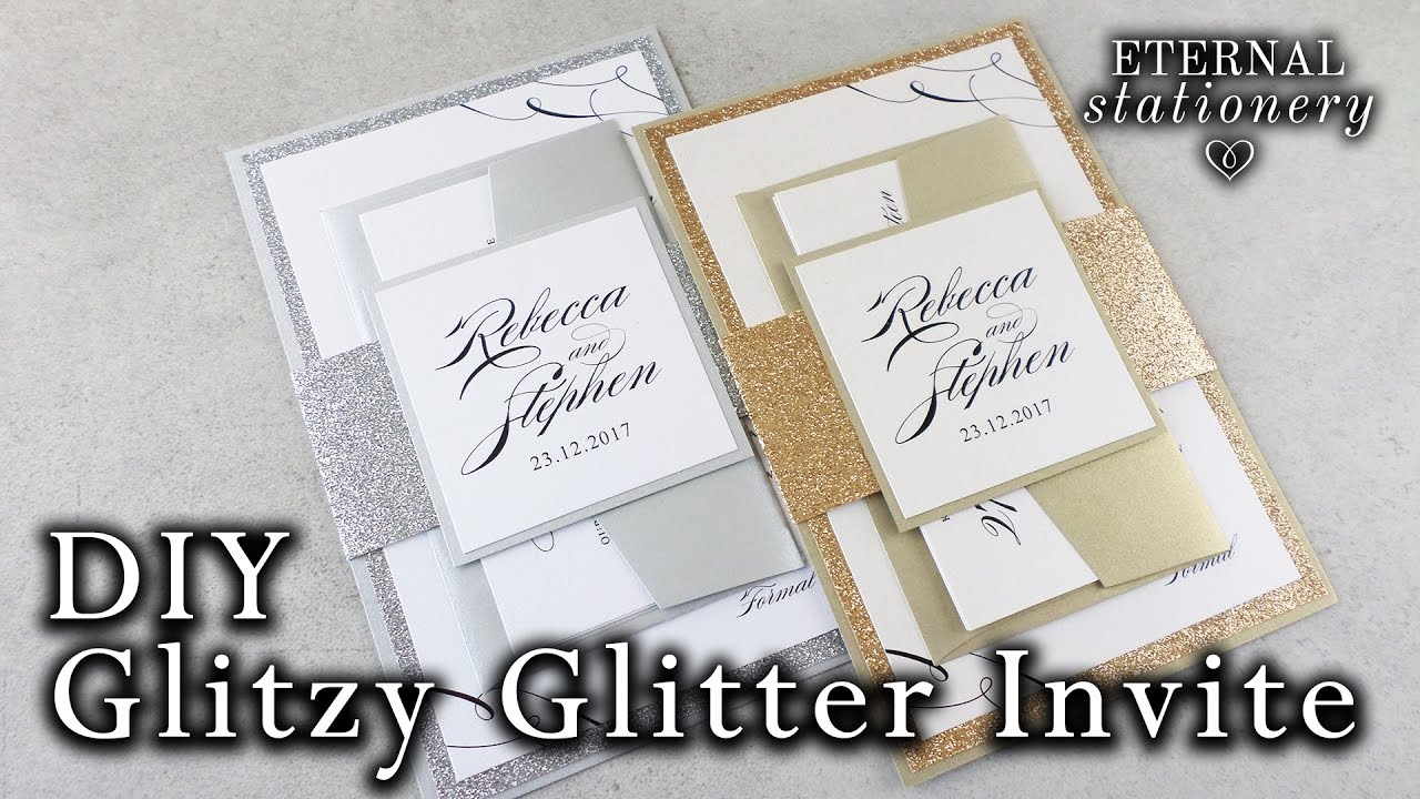 How to make elegant glitter wedding invitations with belly band ...