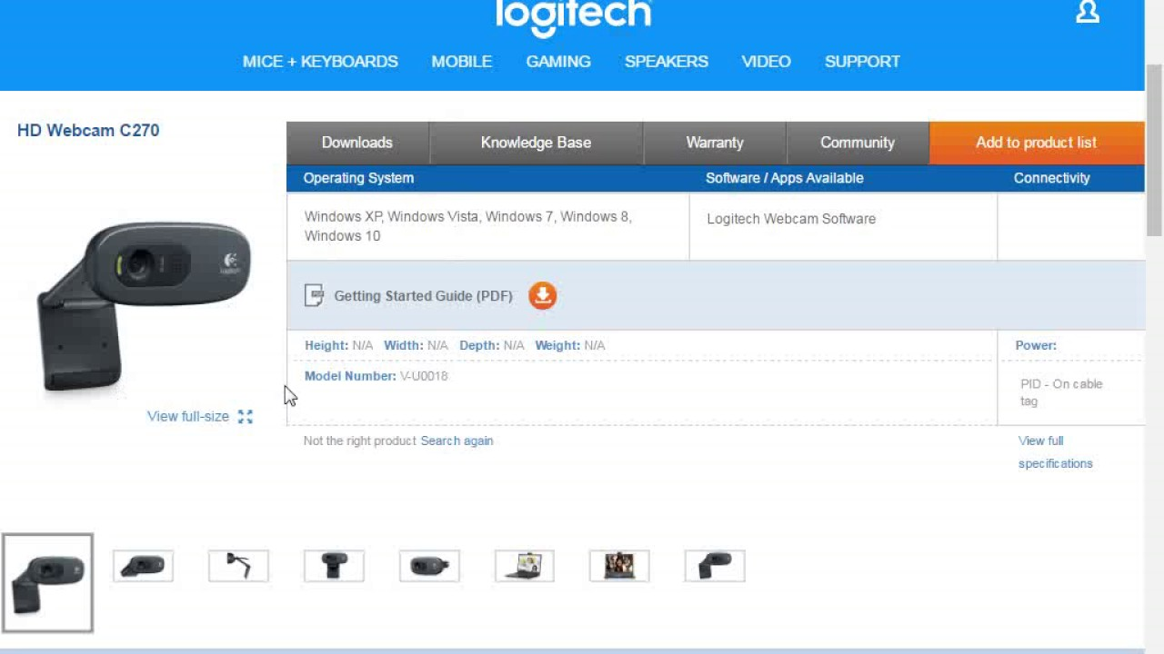 driver logitech webcam c270