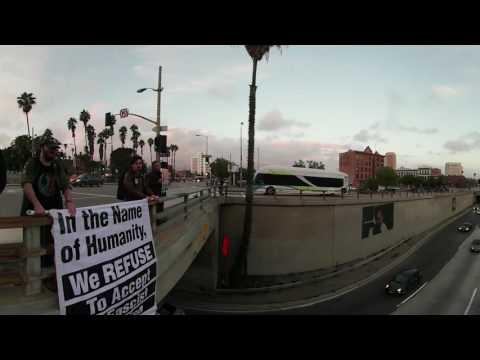RefuseFascismLA: LA Freeway Overpass 1/19 #1