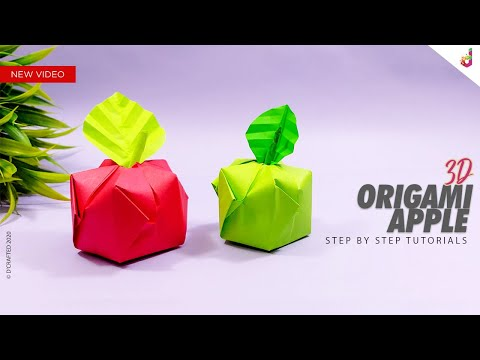 How to make a 3d Origami Apple | Paper Apple | Easy Paper Crafts