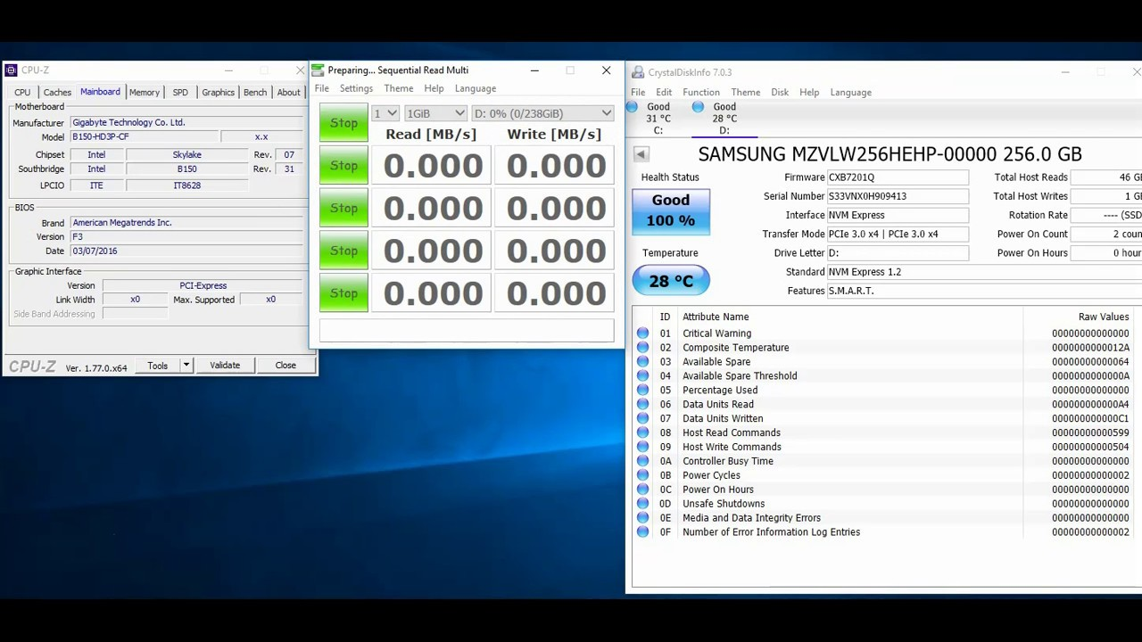 Samsung PM961 256GB PCie NVME SSD speed test - YouTube