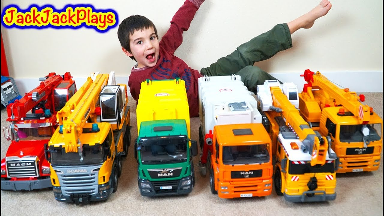 Pretend Play Fishing With Bruder Crane Trucks For Surprise