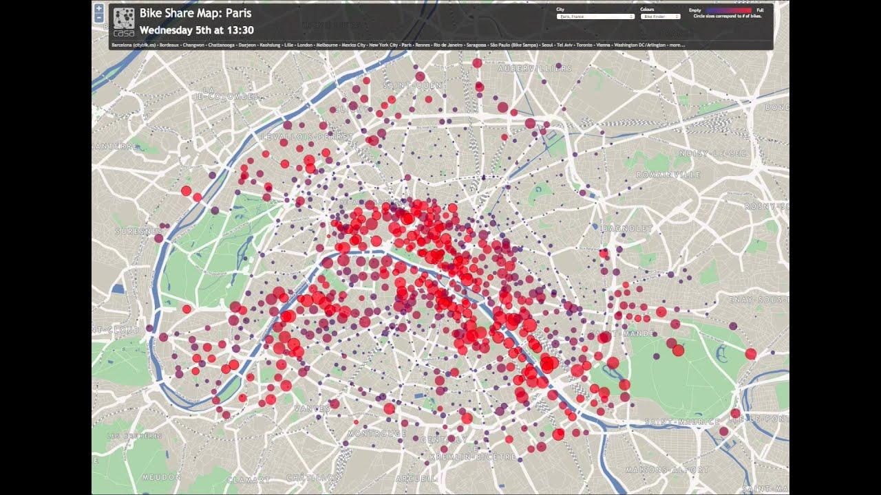 Bike Share Map Paris 48h Animation YouTube