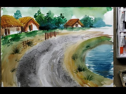 Scenery Drawing with Watercolor Painting for Beginners | Watercolour Landscape drawing in easy way