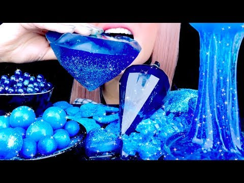 ASMR SAPPHIRE SLIME Boba ICE Candy JELLO Pop Rocks| Best Eating Sounds
