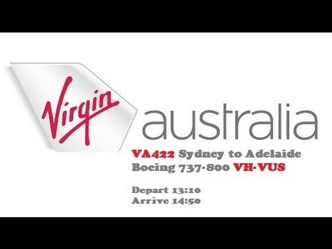 Virgin Australia Boeing 737-800 VA422 Sydney to Adelaide