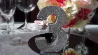 Wedding Table Number. Unique Handmade Glitter Freestanding Wooden Table Numbers.