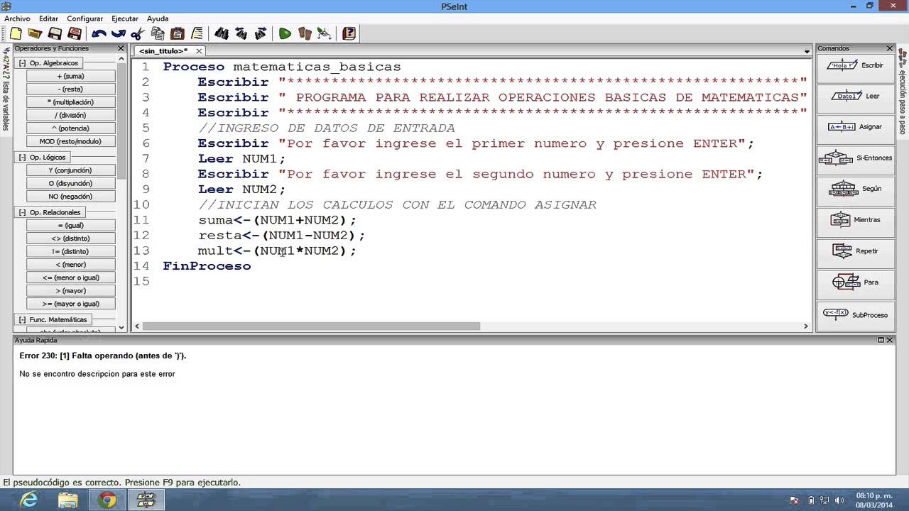 Pseint Operaciones Matematicas Basicas Youtube