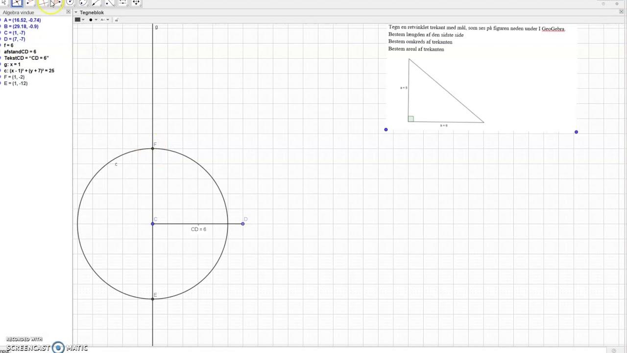 tegn trekant og bestem areal og omkreds