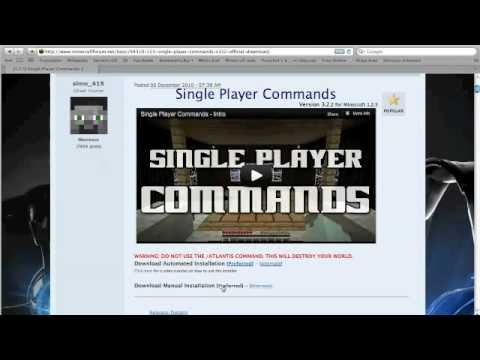How to install single player commands | minecraft mods.