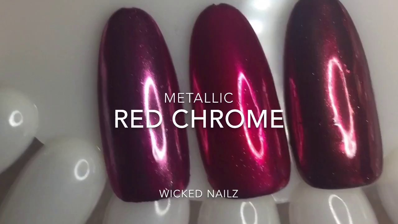 Red Metallic Chrome Nails Diy