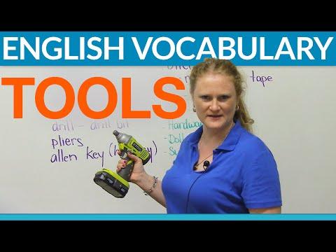 Vocabulary - Tools & hardware: screw, hammer, wrench, level...