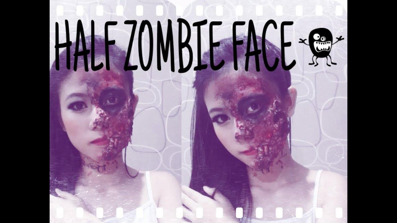 Half Zombie Face Makeup Tutorial | Cara Makeup Zombie ...