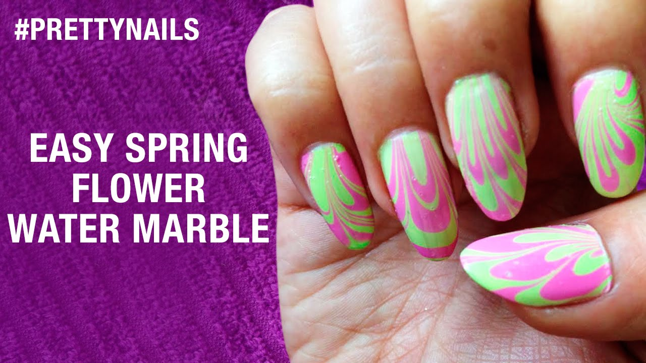 How To Do Water Marble Nail Art Spring Flowers Pretty Nails