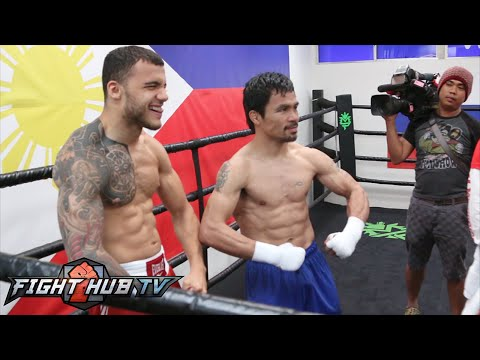 Manny Pacquiao Full Final day of training for Mayweather- Morning/Afternoon workout video
