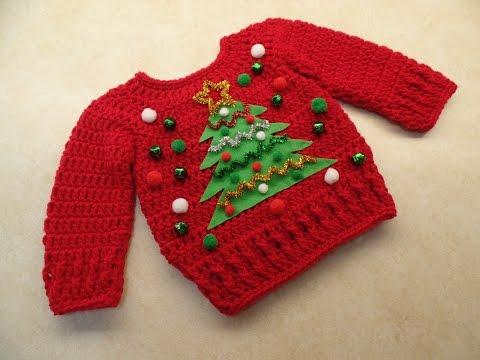 CROCHET How To #Crochet Cute Baby Ugly Christmas Sweater 0-3m, 3-6m, 6-12m TUTORIAL #355 LEARN