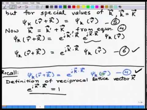 Mod-01 Lec-06 Electrons in a crystal, Bloch's electron