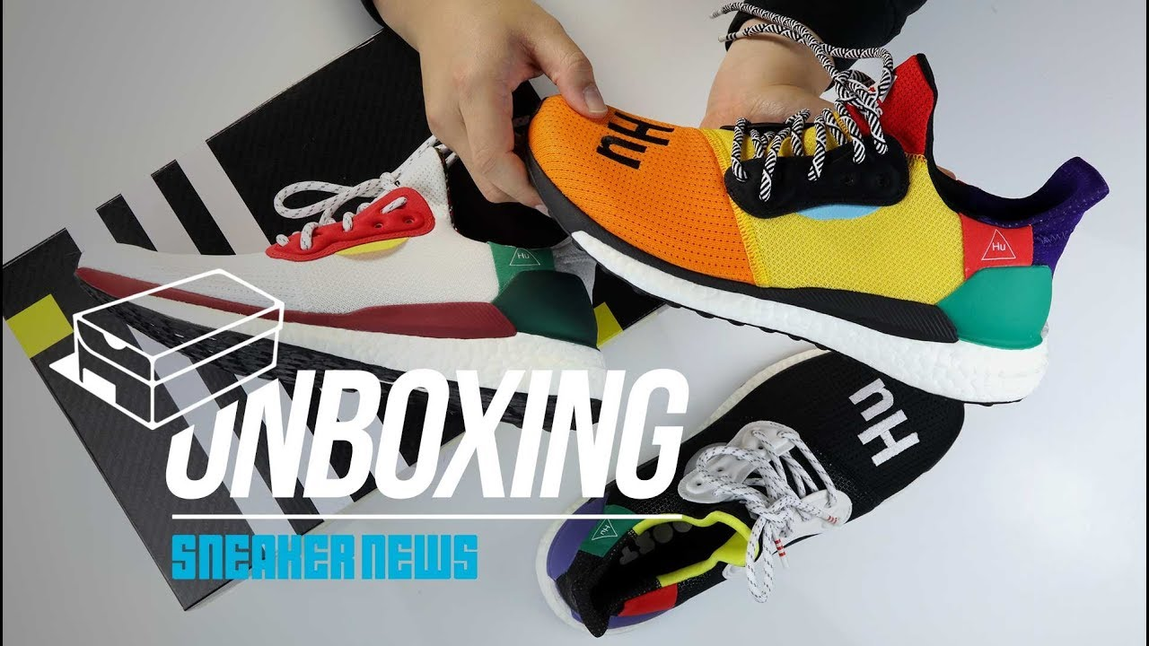 bec6ffd552e4 Unboxing Pharrell adidas Solar Hu Glide - YouTube