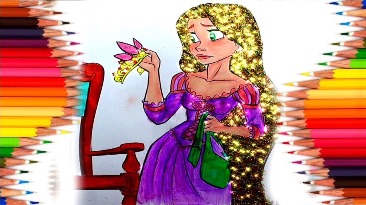 Disney Prensesi Boyama Rapunzel Cizgi Film Karakteri Cocuklar