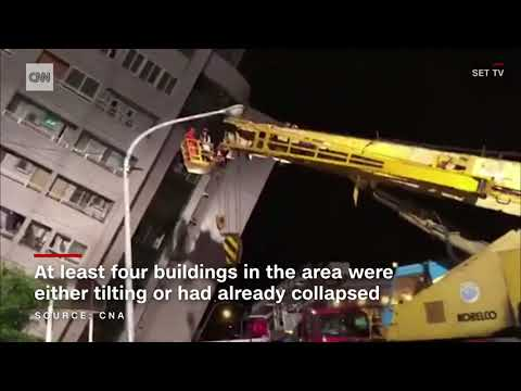 Taiwan quake Tilted buildings people trapped