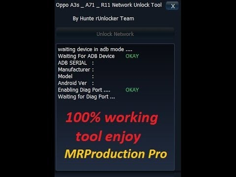 Oppo A3s A71 R11 Network unlock tool free