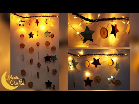 DIY Christmas Photo Booth Backdrop | Wood | Dried Orange Slices | Metallic Stars