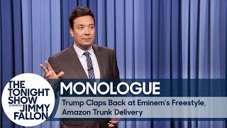 Video Trump Claps Back at Eminem's Freestyle, Amazon Trunk Delivery - Monologue download MP3, 3GP, MP4, WEBM, AVI, FLV Oktober 2017