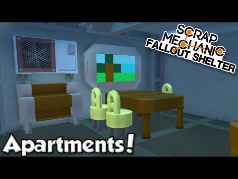APARTMENTS + STORAGE ROOM! - Scrap Mechanic Fallout Shelter Project [Ep.5]
