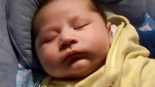 Funny baby sleep-talking