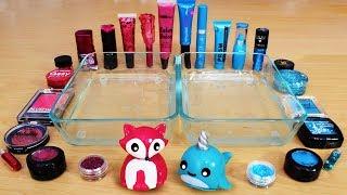 Rose vs Blue - Mixing Makeup Eyeshadow Into Slime! Special Series 87 Satisfying Slime Vide ...
